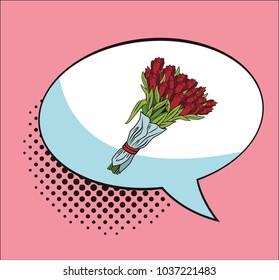 Bouquet of flowers in bubble pop art cartoon