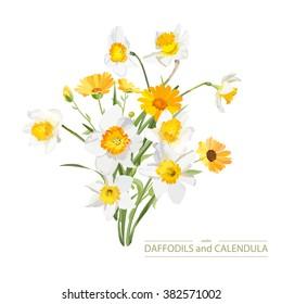 Bouquet of flowers calendula and daffodils