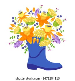 Bouquet of flowers, daffodil in blue boot cartoon illustration.