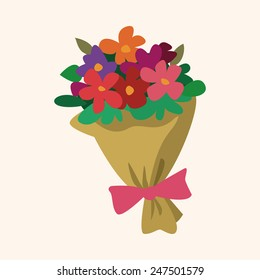 Bouquet of flowers flat icon, eps10