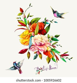 Bouquet of flowers with gladiolus, peony, leaves and two petroika birds around. This template can be used as other type of invitations and holidays. Vector - stock.
