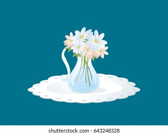 Bouquet of flowers in glass. Centerpiece. Flower display.