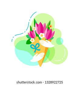 Bouquet of flowers in the hands flat vector icon. Concept of International Womans day. Sign for web or mobile app. UI/UX, GUI user interface. Vector clipart, illustration.