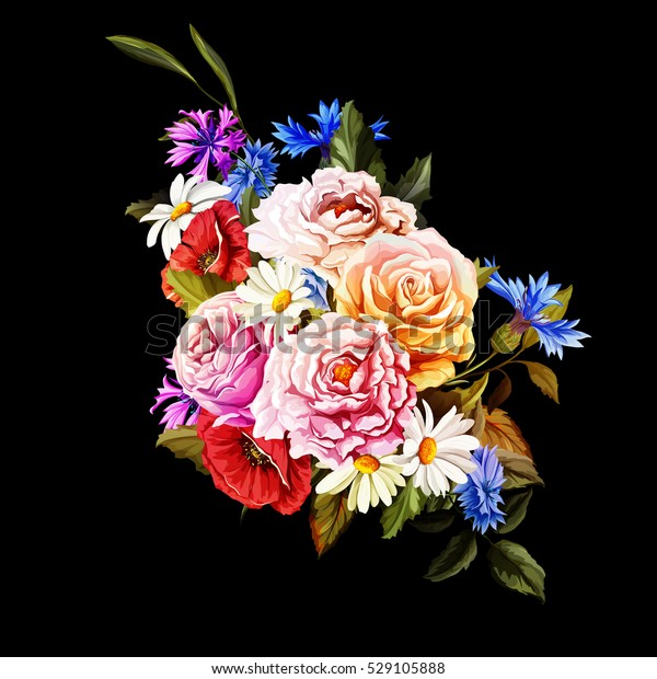 Bouquet of flowers. Illustration of roses, peony, cornflower, camomile (chamomile) poppy with leaves on black. Hand drawn pattern. Vector - stock.