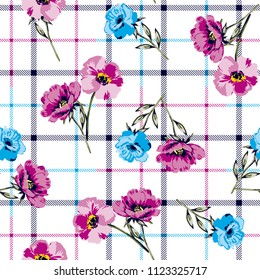 Bouquet Flowers Pattern floral botanical   seamless design with plaid background for textile pattern,fashion print, fabric design