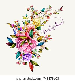 Bouquet of flowers. Peony with apple branch and leaves. Hand drawn. Vector - stock.