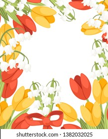 A bouquet of flowers with a red ribbon. Spring red and yellow tulip with Convallaria majalis. Lilly of the valley. Green flower pattern, grass. Flat vector illustration on white background.