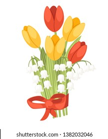 A bouquet of flowers with a red ribbon. Spring red and yellow tulip with Convallaria majalis. Lilly of the valley. Green flower pattern, grass. Flat vector illustration isolated on white background.