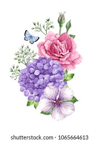 Bouquet of flowers (rose, apple tree flower, gypsophila)and butterfly  in watercolor style isolated on white background. For greeting cards, prints. All elements are editable. Art vector illustration.