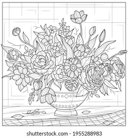 A bouquet of flowers in a vase on the table.Coloring book antistress for children and adults. Illustration isolated on white background.Zen-tangle style. Hand draw