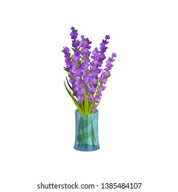 Bouquet of flowers in a vase. Vector illustration on white background.