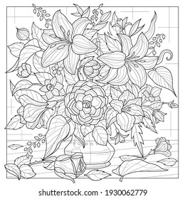Bouquet of flowers in a vase.Coloring book antistress for children and adults. Illustration isolated on white background.Zen-tangle style. Hand draw