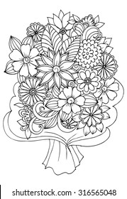 Bouquet of flowers in a wrapping paper for coloring book
