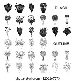 A bouquet of fresh flowers black icons in set collection for design. Various bouquets vector symbol stock web illustration.
