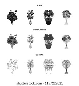 A bouquet of fresh flowers black,monochrome,outline icons in set collection for design. Various bouquets vector symbol stock web illustration.