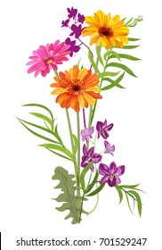 Bouquet of Gerbera daisy, Dendrobium phalaenopsis orchid, bamboo palm: orange, red, purple flowers, green leaves on white background, digital draw, illustration in watercolor style for design, vector