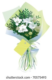 Bouquet, gift wrapped with ribbon and tag