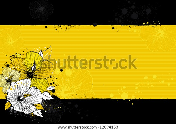 bouquet of hibiscus on black background, vector