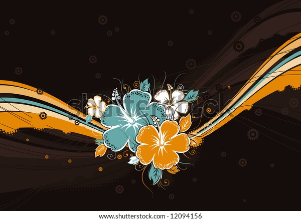 bouquet of hibiscus on brown background, vector