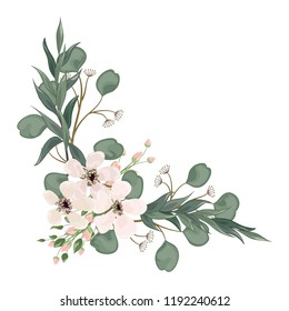Bouquet with leaves and flowers, watercolor, isolated on white. Vector Watercolour.