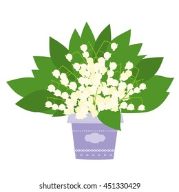Bouquet of lilies of the valley vector illustration isolated on white background. Flowers bouquet vector.