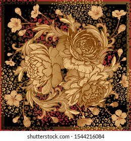 Bouquet of luxurious flowers peonies, baroque style ornament details and leopard skin spots. Black, red and gold foil print. Template for design scarf or pillow. Vector. Vintage art. Floral pattern.