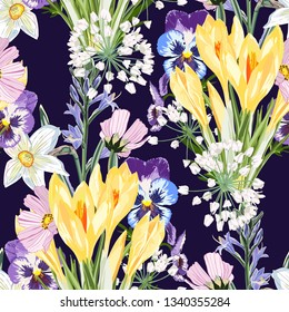 Bouquet of many king of spring flowers and herbs on dark blue background. Hand drawn vintage background. Floral pattern for wallpaper or fabric. Pink backdrop