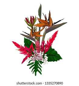 bouquet of mixed native plant flower arrangement on white background in vector