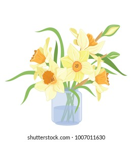 Bouquet narcissus in a vase isolated vector clipart illustration of spring narcissus flowers
