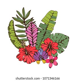 Bouquet. Palm leaves, tropical flowers set. Hand drawn isolated on white background