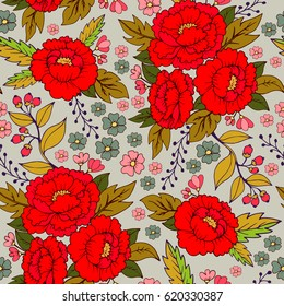Bouquet of peony flowers / botanical flower illustration vector seamless pattern