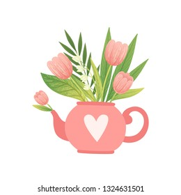 Bouquet of Pink Flowers and Leaves in Teapot, Hello Spring Floral Design Template Vector Illustration