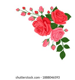 Bouquet of pink and red roses. Corner element for decoration of greeting card, banner. Template for design. Vector illustration of beautiful flowers isolated on white background. Cartoon flat style.