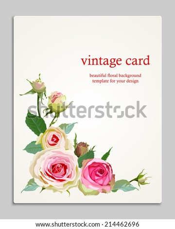 Bouquet Pink Roses Vintage Card Save Stock Vector (Royalty Free ...
