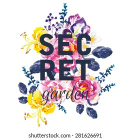 Bouquet of pink roses, violet iris and yellow lilies with dark blue leaves on the white background. Watercolor with summer garden flowers. Print for T-shirt with slogan. Secret garden.