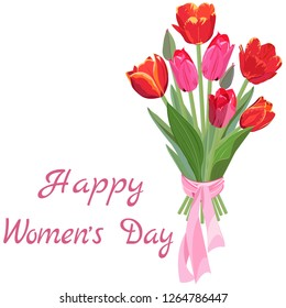 Bouquet of red and pink tulips, tied with a ribbon and congratulations on Women's day