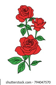 bouquet of red rose for valentine's day, vintage flower style vector illustration on white background