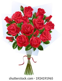 Bouquet of red roses on the white background.