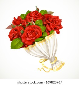 Bouquet of red roses Valentines day gift isolated on white background
