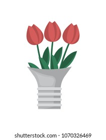 Bouquet of red tulips isolated icon. Bunch of flowers vector illustration in flat style.