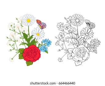 Bouquet with roses and daisies. Traditional European pattern.