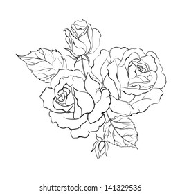 Bouquet of roses iolated on white background. Vector illustration.