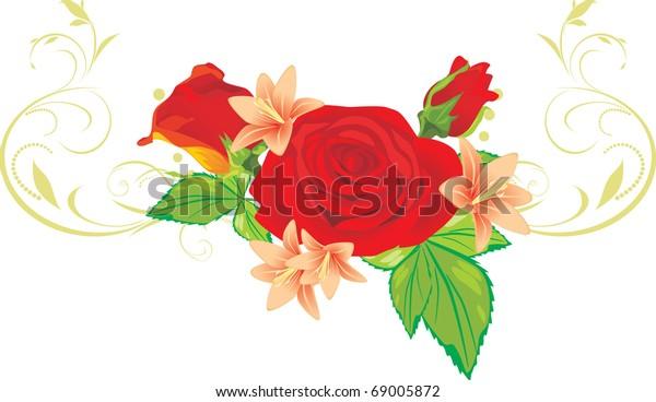 bouquet-roses-lilies-ornament-vector-600