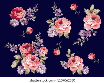 Bouquet Roses Pattern isolated flowers for textile pattern, fashion print on dark blue pattern, vector roses