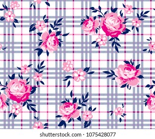 Bouquet roses pattern with small daisies on plaid background for textile pattern, fashion print, fabric print, wallpaper