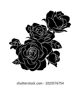 Bouquet of roses. Silhouette of black. Vector illustration isolated on white background. Happy Valentine's day.