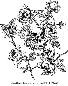 bouquet of roses with skull