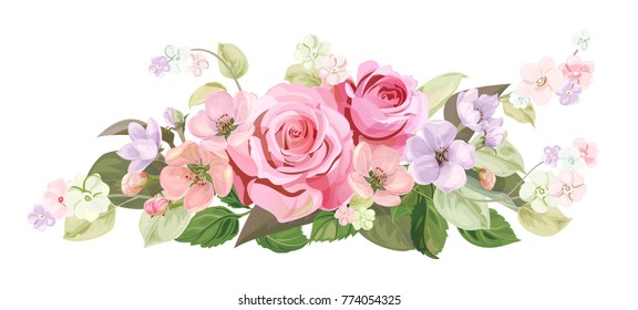 Bouquet of roses, spring blossom. Horizontal border with red, mauve, pink flowers, buds, green leaves on white background. Digital draw illustration in watercolor style, vintage, vector