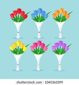 Bouquet set of red tulip, roses, bunch of flowers isolated on background. Happy woman day, 8 march, birthday, wedding concept. Gift, present, surprise for mothers. Spring holiday. Vector flat design