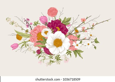 Bouquet. Spring Flowers and twigs. Peonies, Spirea, Cherry Blossom, Dogwood. Vintage botanical illustration. Colorful